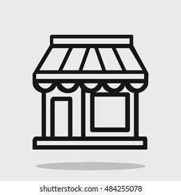Shop icon in flat style. Logo for store, kiosk, booth, stand, newsstand, market, supermarket. Black and white sign for website, mobile app, design project. Vector illustration.