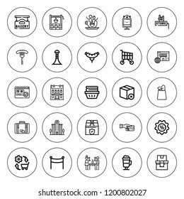 Shop icon set. collection of 25 outline shop icons with bakery, banner, building, buildings, commerce, clothes, coffee, discount, grocery, irish coffee icons. editable icons.