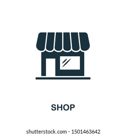 Shop icon vector illustration. Creative sign from buildings icons collection. Filled flat Shop icon for computer and mobile. Symbol, logo vector graphics.