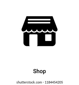 Shop icon vector isolated on white background, logo concept of Shop sign on transparent background, filled black symbol