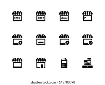 Shop icons on white background. Vector illustration.