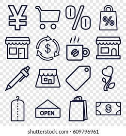 Shop icons set. set of 16 shop outline icons such as tag, Money, clothes on hanger, shopping bag, pen, heart flower, shop, coffee, store, open plate, shopping cart, yuan