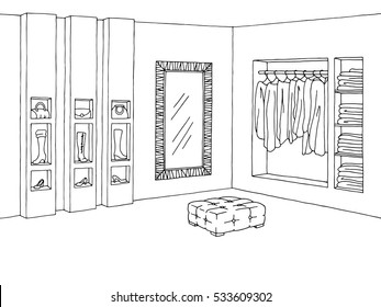 Shop interior. Graphic black white sketch illustration vector