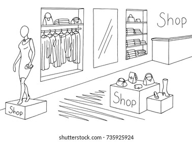 Shop interior graphic black and white sketch illustration vector