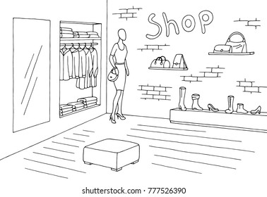 Shop interior graphic black white sketch illustration vector