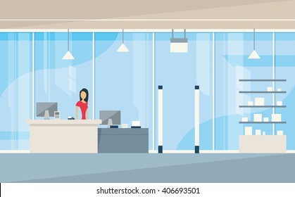 Shop Interior Sales Woman Stand Near Cash Desk. Vector Illustration