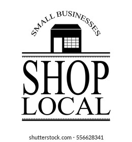 shop local ad sign vector with building silhouette in black with text letters and vintage style retro frame design