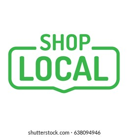 Shop local. Badge flat vector on white background.