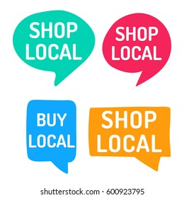 Shop local. Hand drawn speech bubbles. Vector set of icon illustration on white background.
