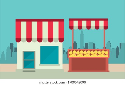 shop local poster with store building and oranges kiosk vector illustration design