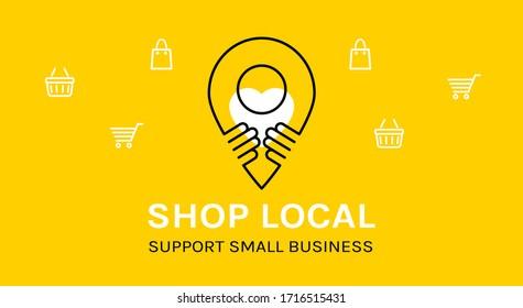 Shop local. Support small business. Coronavirus Quarantine. Vector