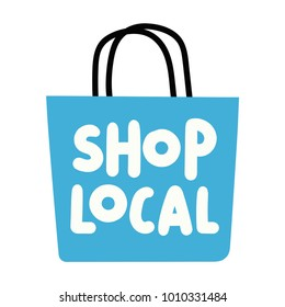 Shop local. Vector hand drawn lettering illustration on white background.
