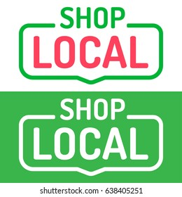 Shop local. Vector set flat badges on white, green background.