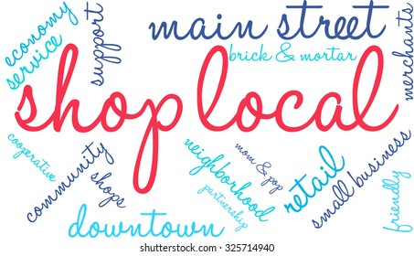 Shop Local word cloud on a white background.