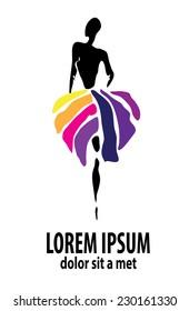shop logo, fashion girl. Company logo design.