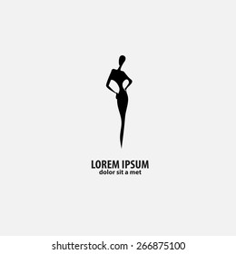 shop logo, fashion girl. Mock-up.  Company logo design.