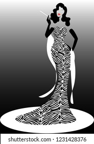 Shop logo fashion woman, black silhouette diva. Company brand name design, Beautiful luxury cover girl retro woman in zebra pattern dress, styling and striped evening dress 1940s , 1950s, template