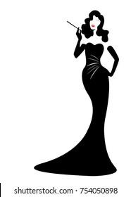 shop logo fashion woman, black silhouette diva. Company logo design, Beautiful cover girl retro , isolated