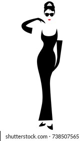 shop logo fashion woman,  silhouette diva minimalist Audrey vector isolated