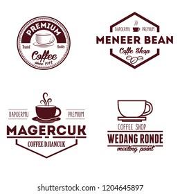 Shop Logos, Badges and Labels Design Elements set. Coffee, cafe  vector illustration.