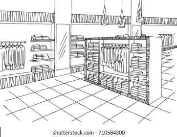 Shop mall interior graphic black white sketch illustration vector