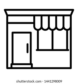 Shop market icon. Outline shop market vector icon for web design isolated on white background