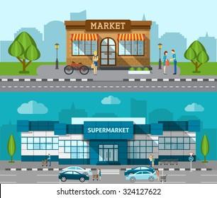 Shop market and supermarket buildings flat horizontal banner set isolated vector illustration
