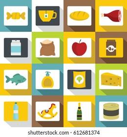 Shop navigation foods icons set. Flat illustration of 16 shop navigation foods vector icons for web