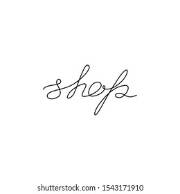 Shop neon logo, continuous line drawing, hand lettering inscription, silhouette one single line on a white background, isolated vector illustration.