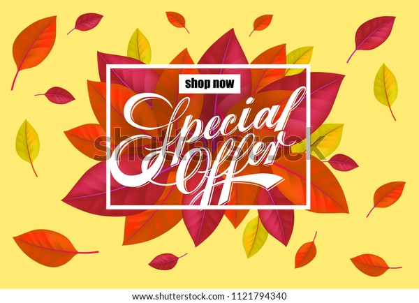Shop now Special offer lettering with bright colorful leaves. Creative inscription with flying leaves around. Illustration with lettering can be used for banner, posters and leaflets