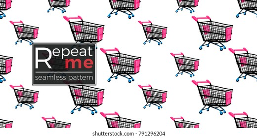 Shop online collection. Vector shopping cart seamless pattern. Fashion illustration, patches, stickers. Hand drawn background in vogue style.