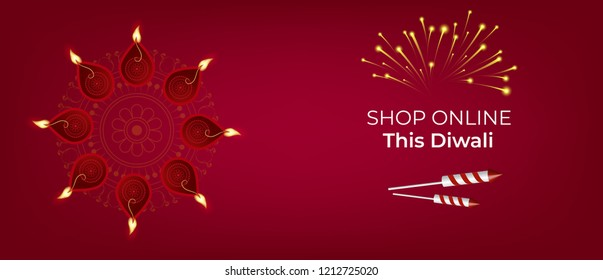 Shop online this diwali banner design and illustrtaion with diyas and fireworks. Banner design for happy diwali.