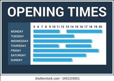 Shop opening time hours with opening hours. blue color