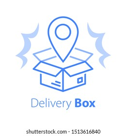 Shop order delivery, open box and location pin, linear design, tracking box, receive postal parcel, pick up point, distribution service, vector line icon