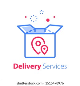 Shop order delivery, package and location pin, linear design, tracking box, receive postal parcel, pick up point, distribution service, vector line icon