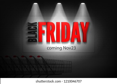 Shop outside discounts vector banner of black friday sale. Red letters in spotlights on white brick wall in the dark shopping cart background