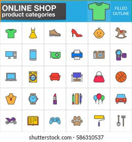 Shop product categories line icons set, filled outline vector symbol collection, linear style pictogram pack. Signs, logo illustration. Set includes icons as clothes, shoes, computer, electronics, toy