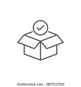 Shop purchase delivery, linear design, open order package, wholesale products, receive postal parcel, unpack box, vector line icon