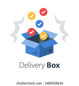 Shop purchase delivery, open order package, multiple set of articles, wholesale products, receive postal parcel, unpack surprise box, vector flat illustration