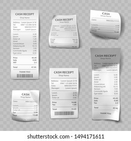 Shop receipt set of realistic isolated vector illustrations. Direct and curled paper payment bills with barcode, goods and their price, tax, Vat and total amount