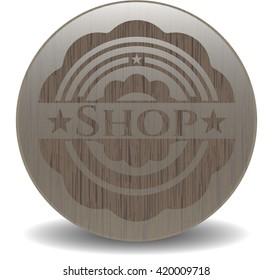 Shop retro wooden emblem