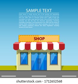 Shop, road. Graphic template. Vector background