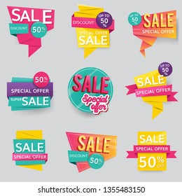 Shop sale and promotion advertisement badges vector set