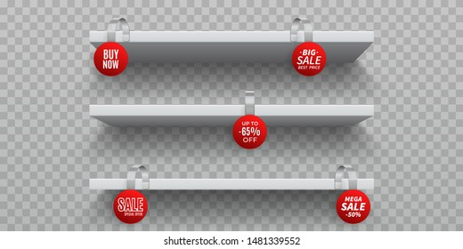 Shop shelves with wobblers. White 3D empty wall shelf with realistic round promotional wobblers. Vector isolated announcement promotion sale wobbler on transparent background