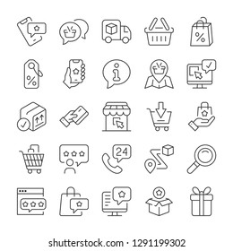 Shop, shipping and feedback icons set. Online store symbols. Line style