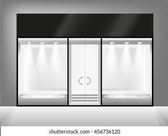 Shop showcase and entrance. Black and white vector glass store