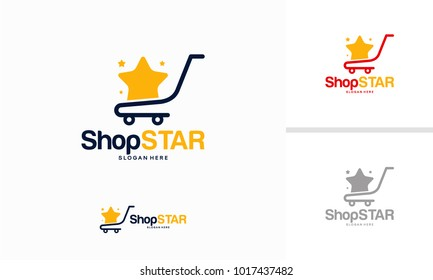 Shop Star logo designs concept, Shopping Cart logo design template vector