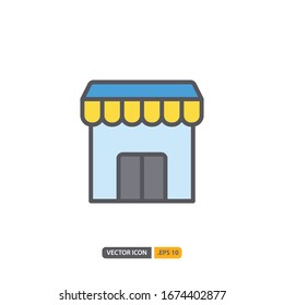 shop station icon in isolated on white background. for your web site design, logo, app, UI. Vector graphics illustration and editable stroke. EPS 10.