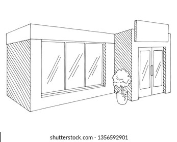 Shop store exterior graphic black white isolated sketch illustration vector
