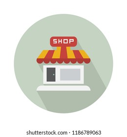 shop store icon, storefront or supermarket illustration. shopping sign symbol